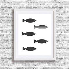 Fish Wall Art Bath Decor Printable Nursery Black by TheFactory17