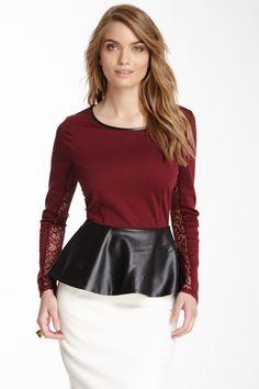 Romeo & Juliet Couture | Long Sleeve Peplum Blouse | HauteLook
