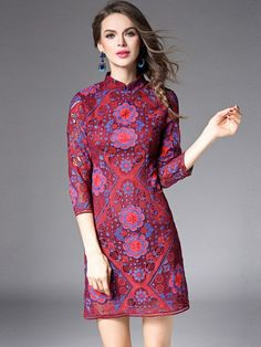 Heart's Wine Red Crochet Qipao / Cheongsam Dress