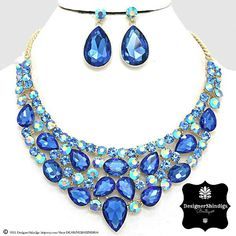 12bbe6af7 Items similar to OW Chunky Blue Rhinestone Statement Bridal Bib Necklace  and Earrings Tear Drop on Etsy