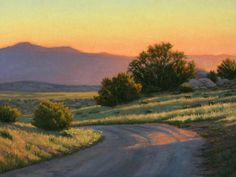 """New Mexico Landscape Painting, """"Where the Road Leads"""", 18"""" x 24"""", New Mexico, juicy sunset, high desert, country road, Terry Sauve, www.terrysauve.com"""