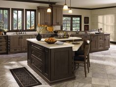 Dynasty Kitchen Cabinetry Photo Gallery - The cabinets in the back (not the island) are in Cherry with Riverbed Stain
