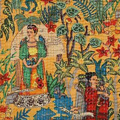 Smart Buys! Yellow Frida Khalo Cotton King Kantha Quilting Queen Bedspreads Throw Frida Kahlo Printed Blanket Bohemian Bedspread Handmade Quilt starting from $49.99 See more. 🤓 #BeddingQuilt #QueenSizeQuilt #HandmadeQuilt #KingSizeQuilt #ThrowBlanket #KanthaQuilt #BedspreadQuilt #BohemianQuilt #HandblockQuilt #AjrakhQuilt Indian Quilt, Bohemian Bedspread, Queen Size Quilt, Quilted Bedspreads, Cotton Quilts, Cotton Fabric, Types Of Embroidery, Hand Art, Kantha Quilt