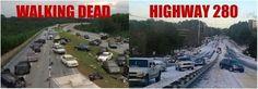Hwy 280 looks like the road on The Walking Dead