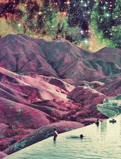 astronomy, outer space, space, universe, scenery, landscapes, stars, nebulas, mountains, water
