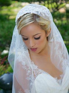 READY to SHIP Ivory lace cap veil Juliet Cap Veil by GildedShadows, $82.00