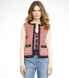 Tory Burch Edythe Cardigan — there's a vest built into the crewneck for a fun twist on a twinset
