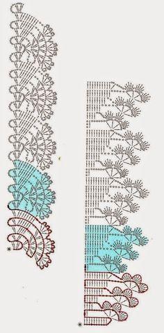 Two Crochet Lace Edgings, worked sideways; scallops and clovers Crochet Edging Patterns, Crochet Lace Edging, Crochet Motifs, Crochet Borders, Crochet Diagram, Crochet Chart, Lace Patterns, Thread Crochet, Filet Crochet