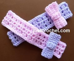 Free baby crochet pattern for headband with bow http://www.justcrochet.com/headband-bow-usa.html #justcrochet #patternsforcrochet