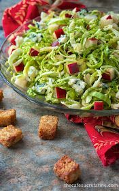 The Café Sucré Farine: Shaved Brussels Sprouts and Apple Salad w/ Blue Cheese Whole-Grain Honey Croutons