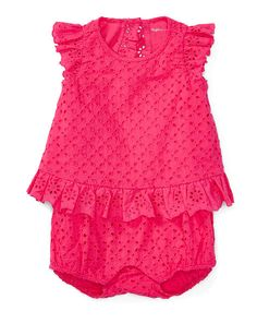 Eyelet Flyaway-Back Romper - Baby Girl One-Pieces - RalphLauren.com