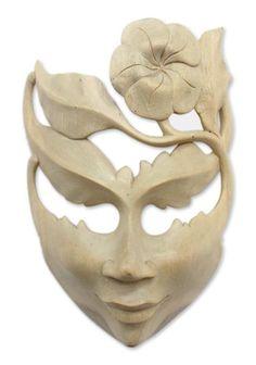 Frangipani Summer Floral Wood Mask Wall Décor