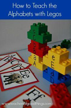 How to Teach the Alphabet with Legos | www.teachersofgoodthings.com