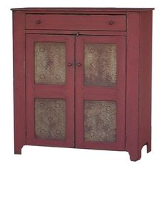 Primitive kitchen furniture pie safe country cupboard farmhouse Early American reproduction