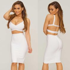 Cheap Herve Leger White Two Pieces Bandage Dress Only $179  Brand:Herve Leger Style:Two Pieces Dress Color:White Fabric:Rayon,Nylon and Spandex Origin:China