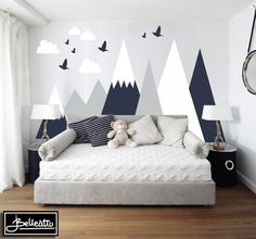Mountains Wall Decal Woodland Baby Room Decal Clouds Birds Toddlers Custom Personalized Washable Headboard Sticker Nursery Headboard Protect Baby room – Home Decoration Baby Bedroom, Baby Boy Rooms, Bedroom Wall, Kids Bedroom, Childrens Bedrooms Boys, Childrens Wall Murals, 1930s Bedroom, Boy Toddler Bedroom, Bedroom Headboards