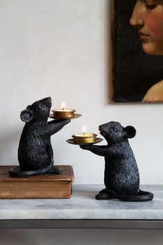 Quirky & cute, this pair of Mouse Candle Holders are available in Black or White. Why not buy both colours & create a display of a family of mice. Rockett St George, Monochrome Fashion, Tea Light Holder, Dinner Table, Tea Lights, Candle Holders, Candles, Mice, Gifts