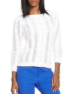 Lauren Ralph Lauren Cabled Linen-Cotton Sweater Women's White X-Large