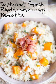 Butternut Squash Risotto with Crispy Pancetta