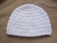 White Crochet Baby Hat by AngieHallHaviland on Etsy, $9.00