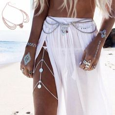 6fee6ea63909 Four Tier Drop and Center Tassel Waist Chain Womens Jewelry Rings