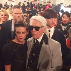 Kristen and Karl at the Chanel cruise