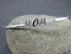 Mom Bangle Bracelet Mother's Day Jewelry by GlassRiverJewelry