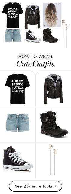 """""""short, sassy, cute and classy outfit"""" by maryjc21 on Polyvore featuring Wilsons Leather, Paige Denim, Converse and Caeden"""