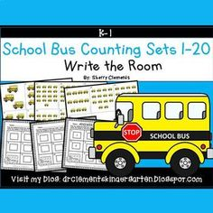 50% off for 24 hrs~(until 11:59 PM EST 03/06/17) School Bus Write the Room (Counting Sets 1-20)This resource includes four pages of numbered cards in color with a total of 20 cards. Each numbered card has a set of school buses to represent each number 1-20.
