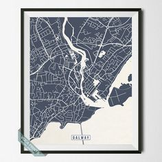 GALWAY IRELAND STREET MAP PRINT By Voca Prints Modern Street Map Art Poster With