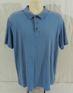 Kirkland Signature Blue Mens Polo Golf Casual Shirt Sz XL 3 Button #Kirkland #PoloRugby