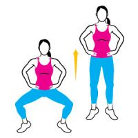 Plie Squat Jump.- Stand with your legs about two feet apart, toes turned out, and hands on your hips. Rise onto your toes, bend your knees, and sit back, lowering yourself until your thighs are parallel to the floor. Jump off the ground, bringing your feet to hip-width apart and landing softly on your toes. That's one rep. Continue quickly jumping your legs out and in for 15 to 20 reps.