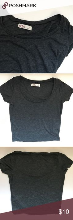 Hollister Scoop Neck Charcoal Grey Half Shirt Show off your mid section with the charcoal grey Half shirt. Super soft cotton fabric. Scoop neck, short sleeves. Hollister Tops Crop Tops