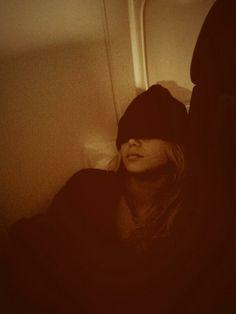 Olivia Holt sleeping on a plane December 2013