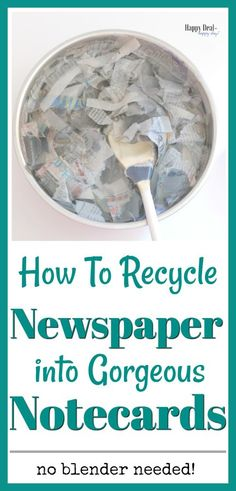 Learn how to take a bunch of old newspaper and recycle it into gorgeous notecards - no blender needed to recycle this paper! Learn how to take a bunch of old newspaper and recycle it into gorgeous notecards - no blender needed to recycle this paper! Recycle Newspaper, Newspaper Crafts, Old Newspaper, How To Recycle Paper, Recycle Art, Upcycle, Gifts For Teens, Gifts For Women, Recycled Crafts