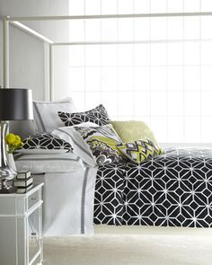 #Black and #white cotton #bed #linens with great #graphic appeal. From Trina Turk. Embroidered accent #pillows add a touch of #yellow. #HorchowHome
