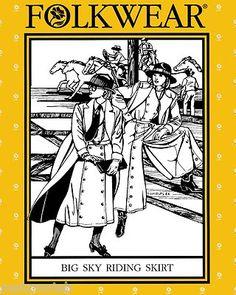 Folkwear Big Sky Riding Skirt Western Cowgirl Split Skirt Sewing Pattern #231