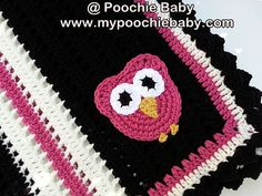 Crochet Owl Baby Blanket in Black Pink and White