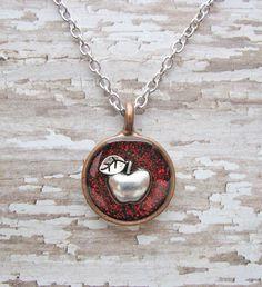 glitter apple necklace  perfect teacher gift  by juliethefish