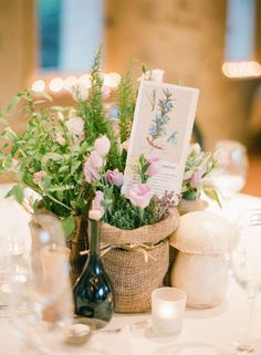 Centerpiece with herbs and natural seasonings for the food - so unique! Photo by KT Merry Photography. www.wedsociety.com #wedding #ideas