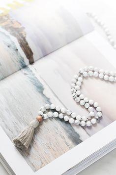 I AM ENOUGH Mala Burma Jade Gemstone Yoga Jewelry 6mm Boho Meditation Necklace 108 Fossil Sterling Silver Yoga Healing