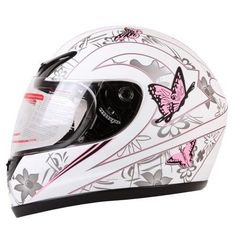 MATTE WHITE PINK BUTTERFLY FULL FACE MOTORCYCLE HELMET DOT (Medium) Womens
