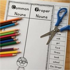 Common and Proper Nouns Worksheet Common Nouns and Proper Nouns cut and sort freebie!Common Nouns and Proper Nouns cut and sort freebie! Nouns First Grade, 2nd Grade Grammar, 2nd Grade Ela, 2nd Grade Writing, Spelling And Grammar, 2nd Grade Classroom, First Grade Reading, Classroom Fun, Second Grade