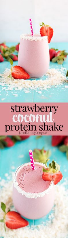 Strawberry Coconut Protein Smoothie