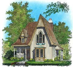Charming Gothic Revival Cottage - 43002PF | 2nd Floor Master Suite, Cottage, European, Narrow Lot, PDF, Photo Gallery, Vacation | Architectural Designs
