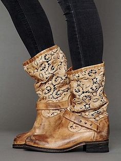 Distressed tan leather pull-on boot with beautiful crochet upper. Leather strap across the front ankle. Low heel.