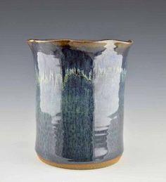 Handmade by O''Quinn Pottery Utensil Holder/Wine Chiller in Peacock Blue Glaze