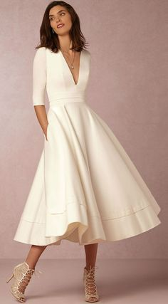V Neck Half Sleeve Solid A-line Party Dress