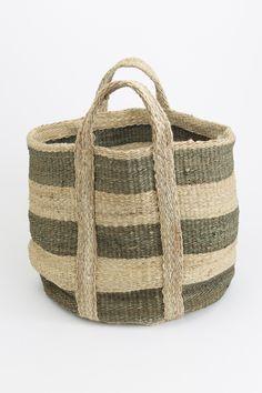 jute striped storage basket
