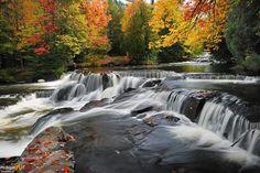 Autumn at Michigan's Bond Falls ( Waterfall Gallery ) Michigan Waterfalls, Framed Art Prints, Fine Art Prints, Waterfall Photo, State Of Michigan, Great Lakes, Canvas Frame, Autumn, Gallery